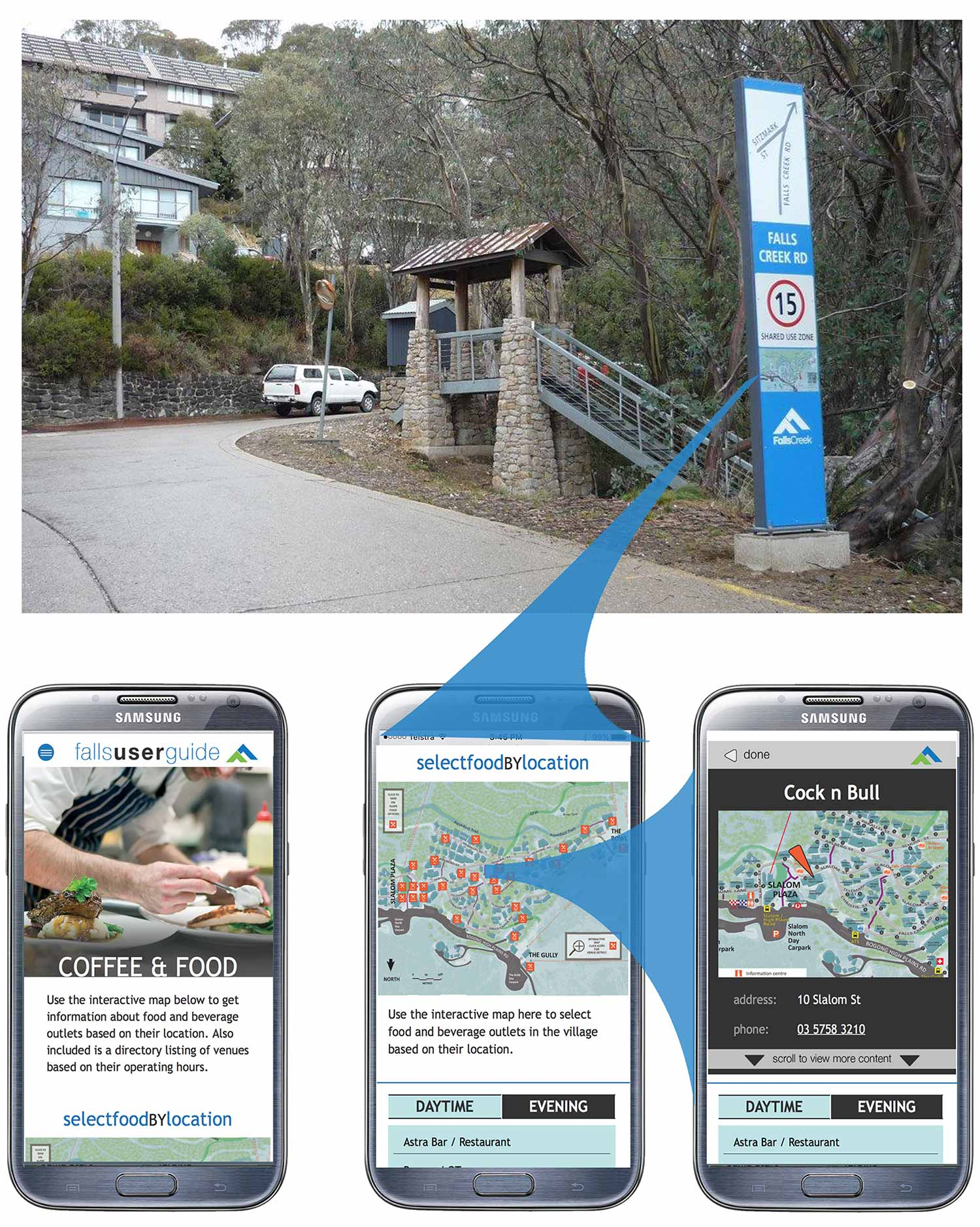 interpretive planning integrating signage and digital components at Falls Creek