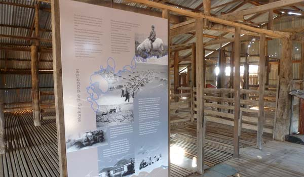Pastoral heritage interpretive displays in the Zanci Woolshed, Mungo National Park