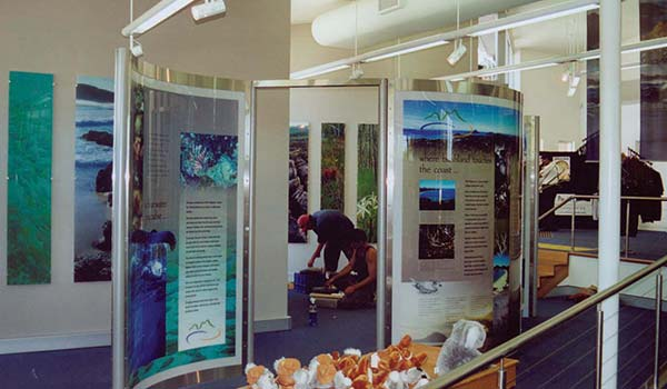 interpretation displays within the Port Stephens Visitor Centre