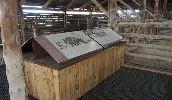 Interpretive display by Nature Tourism Services, Mungo Woolshed, Mungo National Park