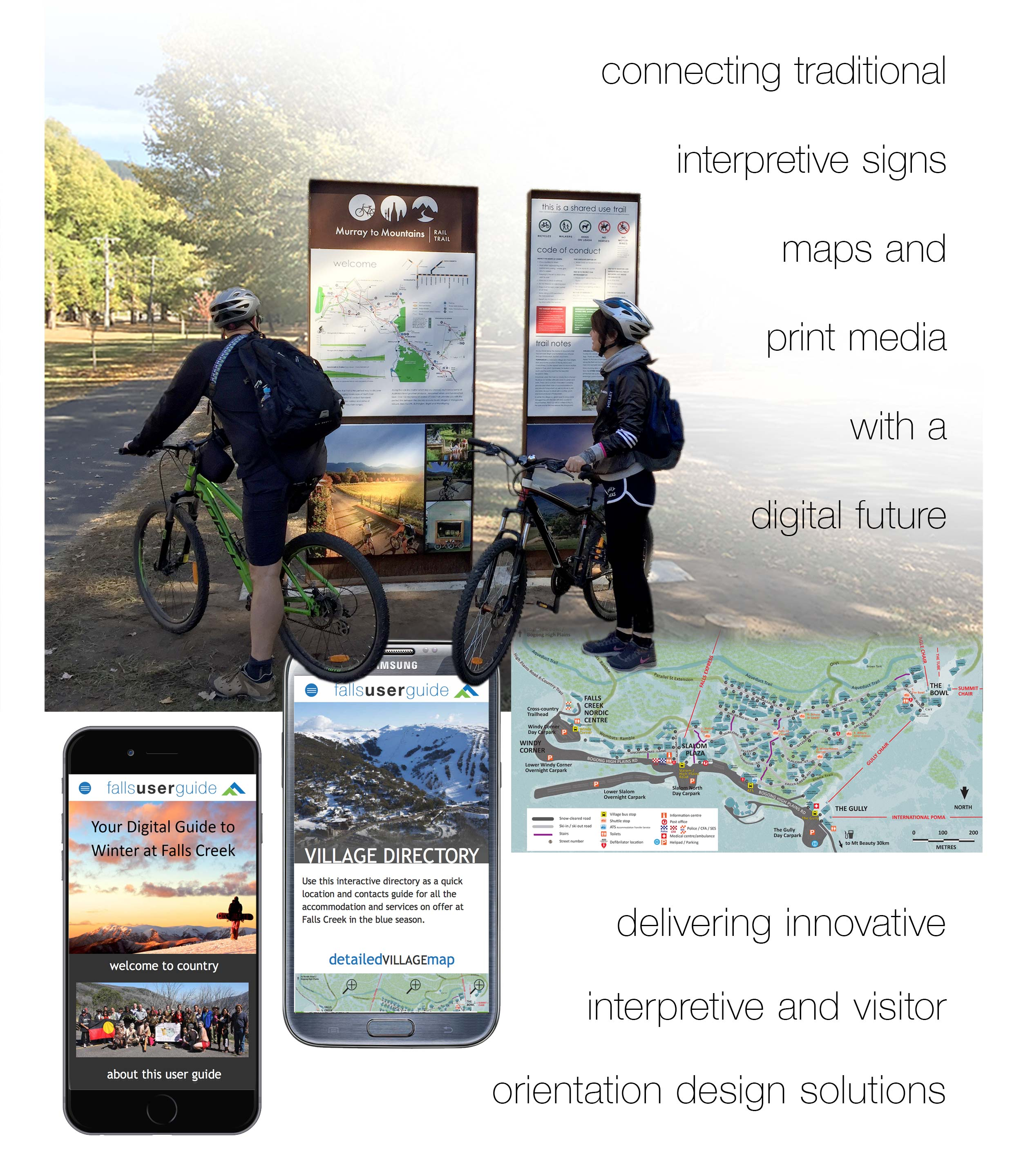 connecting traditional  interpretive signs maps and  print media  with a  digital future - delivering innovative         interpretive and visitor orientation design solutions