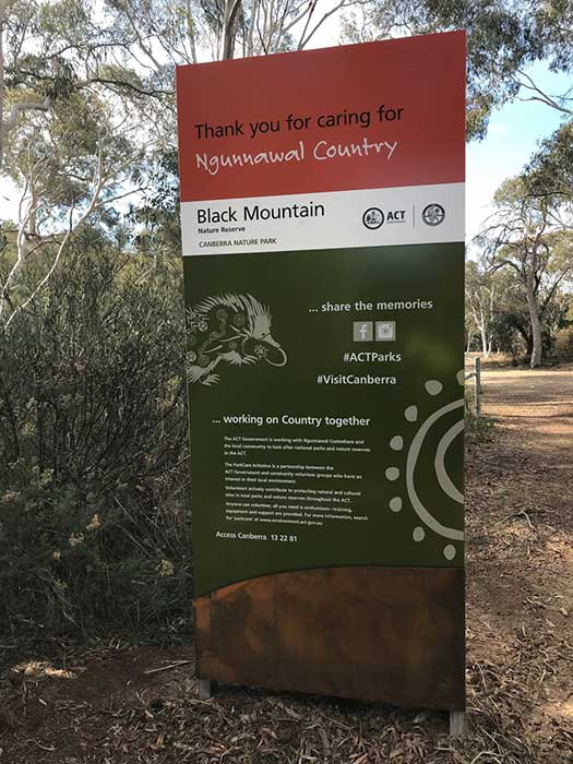 ACT park entry sign