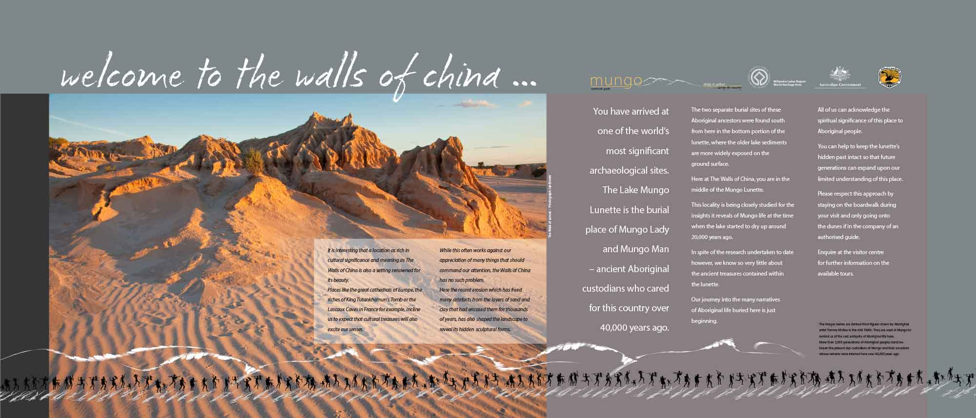 walls of china mungo national park interpretive signage